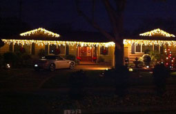 Residential house with christmas icecicle lights San Jose Bay Area Themes