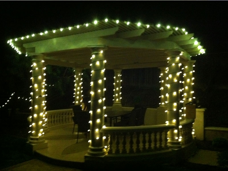 Gazebo Lighting in the Backyard San Jose Bay Area Themes & Holiday Lighting and Decorations - Bay Area Themes: 408.401.1631